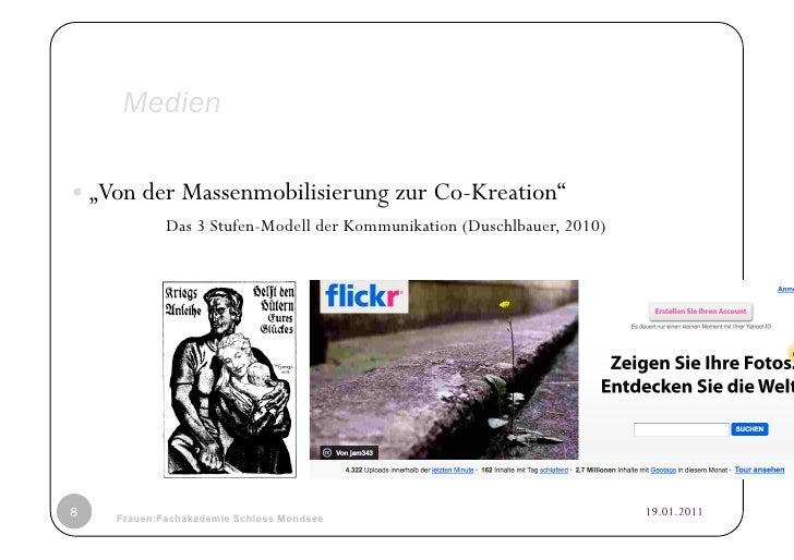 """Medien""""Von der Massenmobilisierung zur Co-Kreation""""            Das 3 Stufen-Modell der Kommunikation (Duschlbauer, 2010)..."""