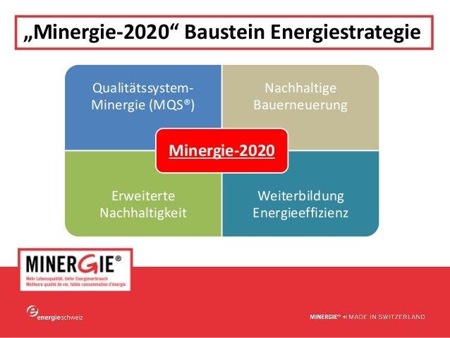 """www.minergie.ch """"Minergie‐2020""""BausteinEnergiestrategie Qualitätssystem‐ Minergie(MQS®) Nachhaltige Bauerneuerung Erwe..."""