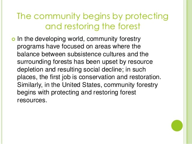  In the developing world, community forestryprograms have focused on areas where thebalance between subsistence cultures ...
