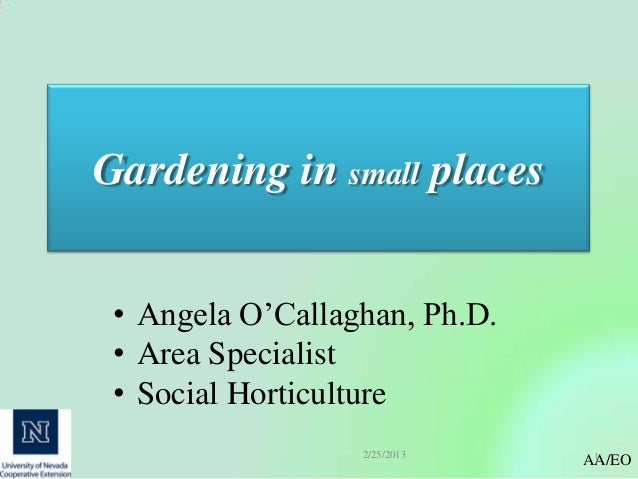 """Gardening in small places • Angela O""""Callaghan, Ph.D. • Area Specialist • Social Horticulture                  2/25/2013  ..."""