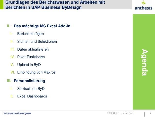 Grundlagen des Berichtswesens und Arbeiten mit Berichten in SAP Business ByDesign Slide 3