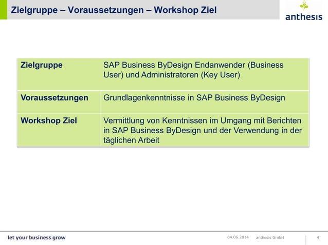 Zielgruppe – Voraussetzungen – Workshop Ziel anthesis GmbH 404.06.2014 Zielgruppe SAP Business ByDesign Endanwender (Busin...