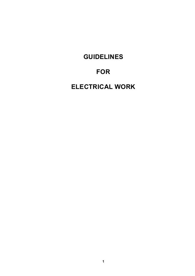 GUIDELINES FOR ELECTRICAL WORK  1