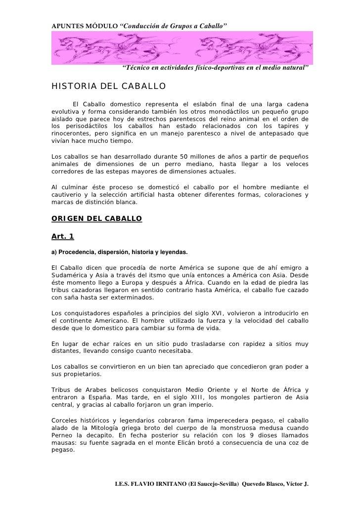 """APUNTES MÓDULO """"Conducción de Grupos a Caballo""""                              """"Técnico en actividades físico-deportivas en ..."""