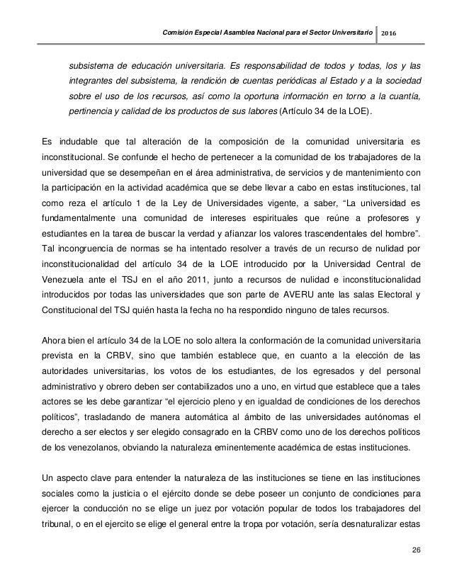 Informe comision especial de universidades asamblea nacional
