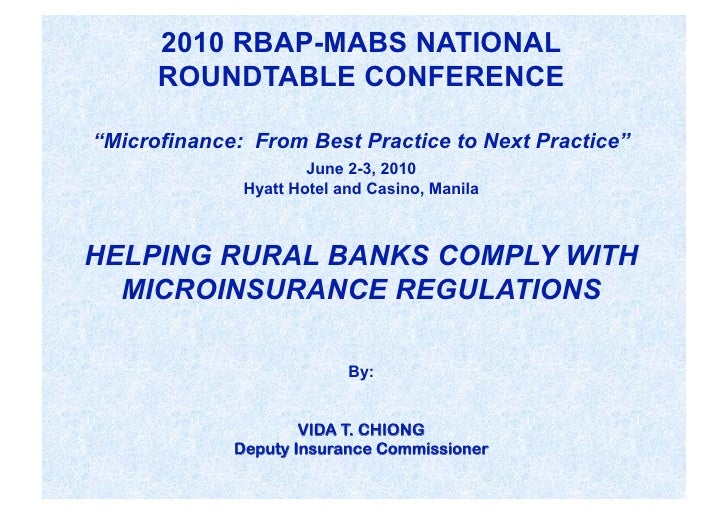 """2010 RBAP-MABS NATIONAL       ROUNDTABLE CONFERENCE  """"Microfinance: From Best Practice to Next Practice""""                  ..."""