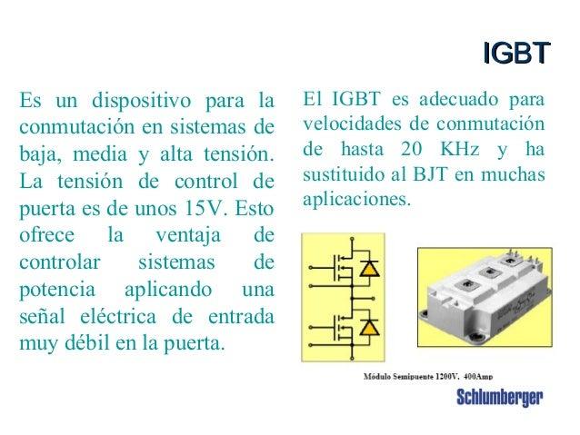 Intouch Content # 3880002 19 IGBTIGBT El IGBT es adecuado para velocidades de conmutación de hasta 20 KHz y ha sustituido ...
