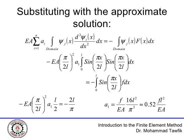 Substituting with the approximate solution: