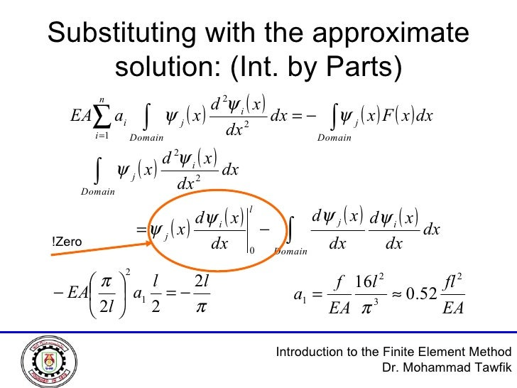 Substituting with the approximate solution: (Int. by Parts) Zero!