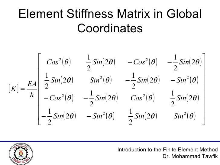 Element Stiffness Matrix in Global Coordinates