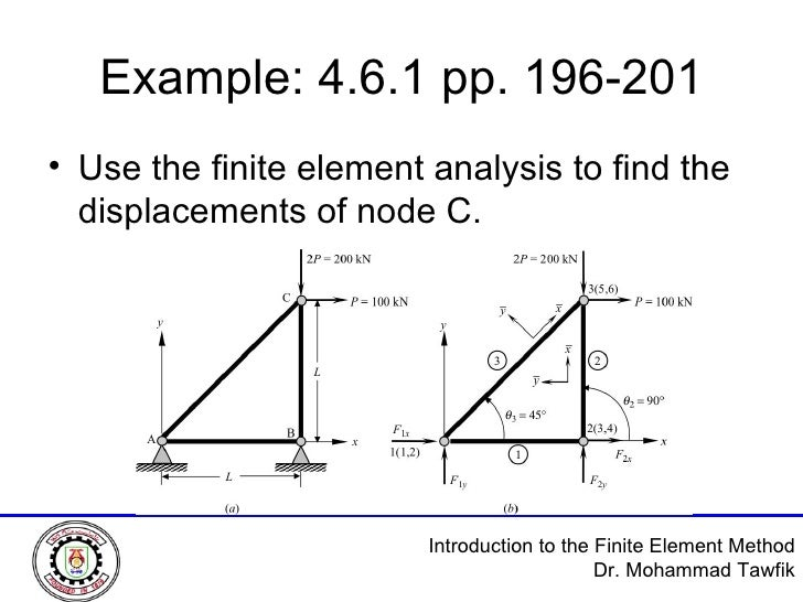 Example: 4.6.1 pp. 196-201 <ul><li>Use the finite element analysis to find the displacements of node C. </li></ul>