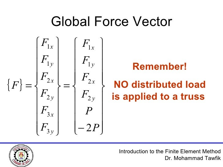 Global Force Vector Remember! NO distributed load is applied to a truss