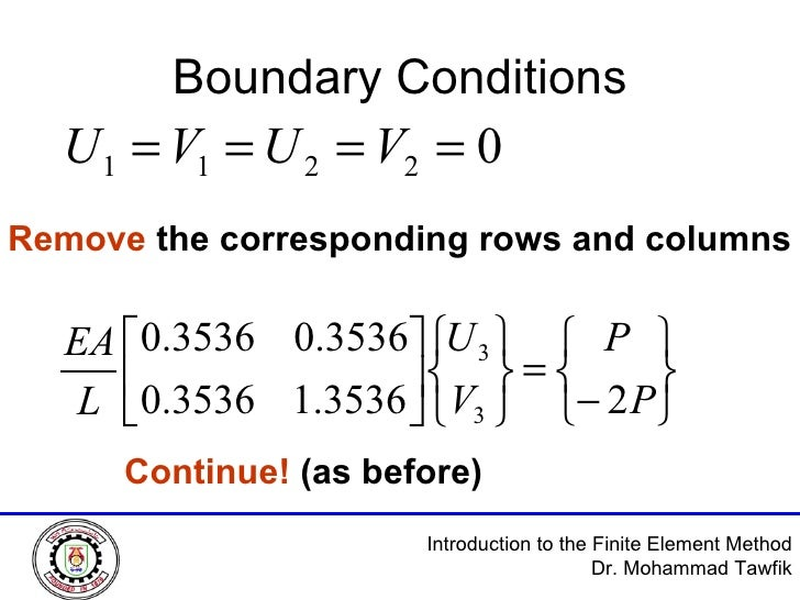 Boundary Conditions Remove  the corresponding rows and columns Continue!  (as before)