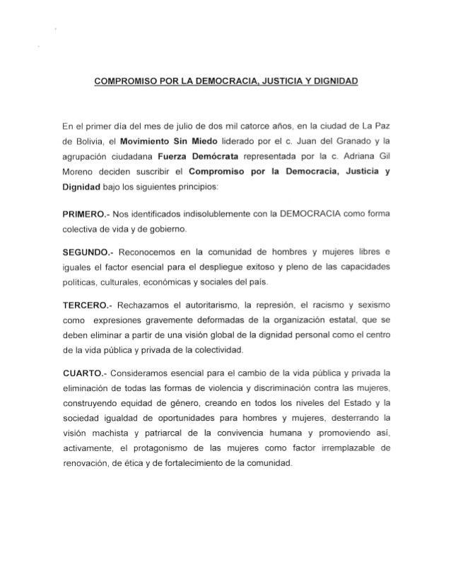 Acta del acuerdo entre el MSM y el FD