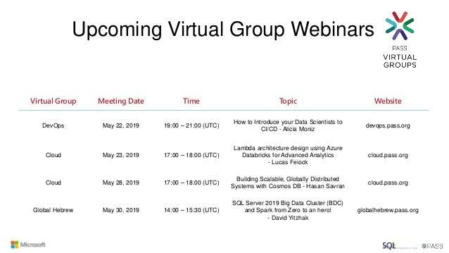 Virtual Group Meeting Date Time Topic Website Cloud Jun 25, 2019 06:00 – 07:00 (UTC) Introduction to Azure Cognitive Servi...