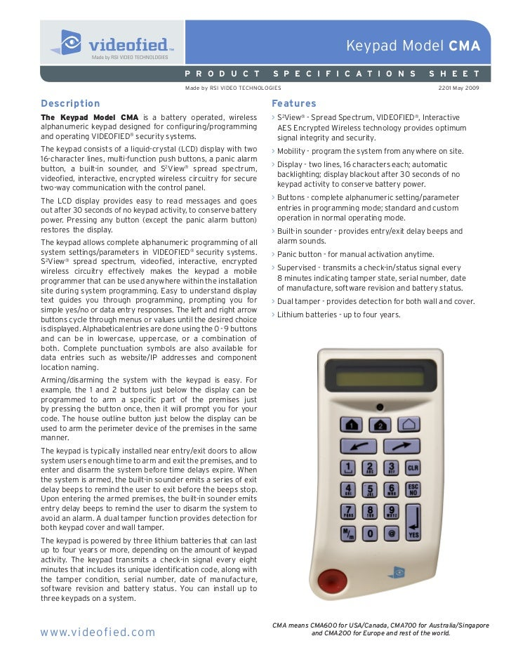 Keypad Model CMA                                            P R O D U C T              S P E C I F I C A T I O N S        ...