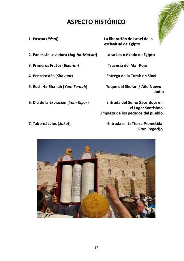 17 ASPECTO HISTÓRICO 1. Pascua (Pésaj) La liberación de Israel de la esclavitud de Egipto 2. Panes sin Levadura (Jag Ha-Ma...