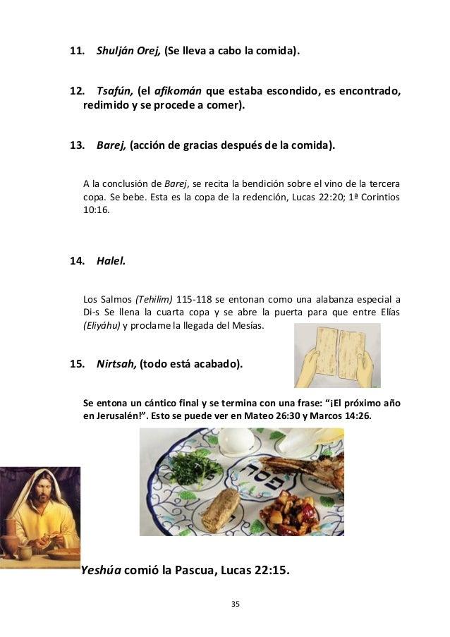 35 11. Shulján Orej, (Se lleva a cabo la comida). 12. Tsafún, (el afikomán que estaba escondido, es encontrado, redimido y...