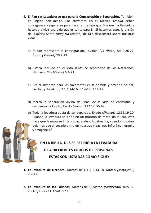53 4. El Pan sin Levadura se usa para la Consagración y Separación. También, es ungido con aceite. Los creyentes en el Mes...