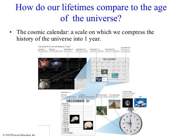 © 2010 Pearson Education, Inc. How do our lifetimes compare to the age of the universe? • The cosmic calendar: a scale on ...