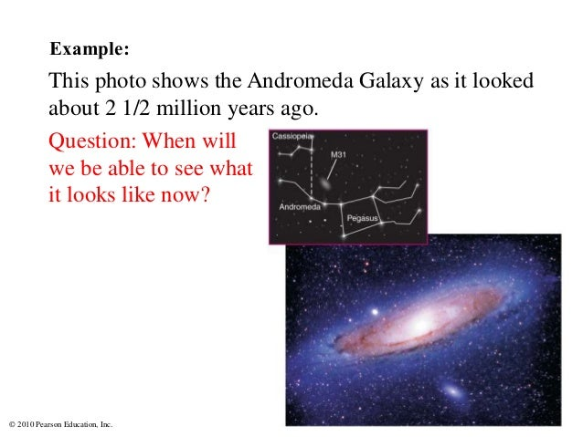 © 2010 Pearson Education, Inc. Example: This photo shows the Andromeda Galaxy as it looked about 2 1/2 million years ago. ...