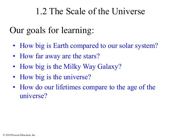 © 2010 Pearson Education, Inc. 1.2 The Scale of the Universe • How big is Earth compared to our solar system? • How far aw...