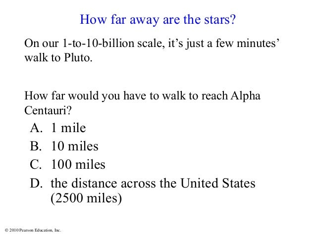 © 2010 Pearson Education, Inc. On our 1-to-10-billion scale, it's just a few minutes' walk to Pluto. How far would you hav...