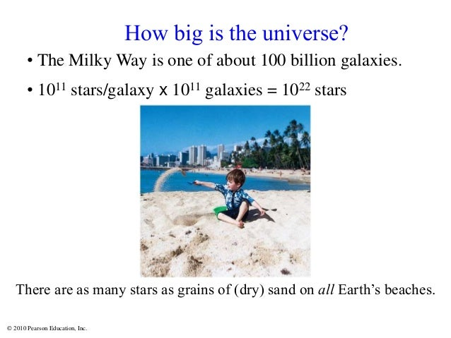 © 2010 Pearson Education, Inc. How big is the universe? • The Milky Way is one of about 100 billion galaxies. • 1011 stars...