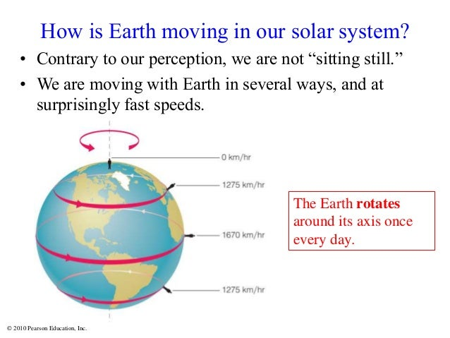 """© 2010 Pearson Education, Inc. How is Earth moving in our solar system? • Contrary to our perception, we are not """"sitting ..."""