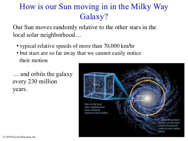 © 2010 Pearson Education, Inc. Our Sun moves randomly relative to the other stars in the local solar neighborhood… • typic...