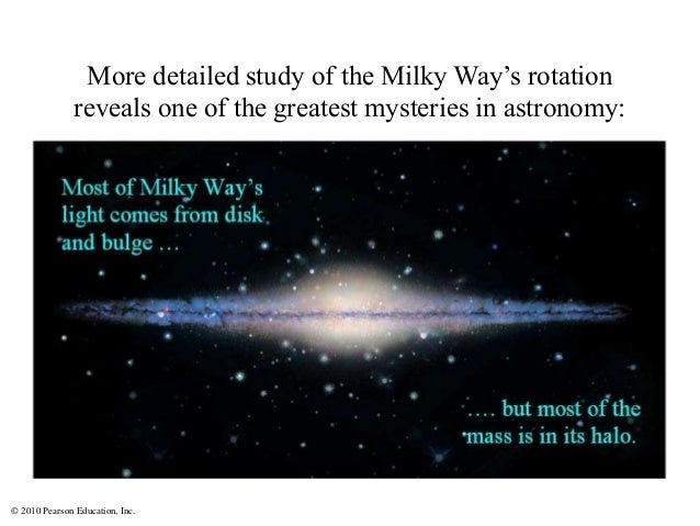 © 2010 Pearson Education, Inc. More detailed study of the Milky Way's rotation reveals one of the greatest mysteries in as...