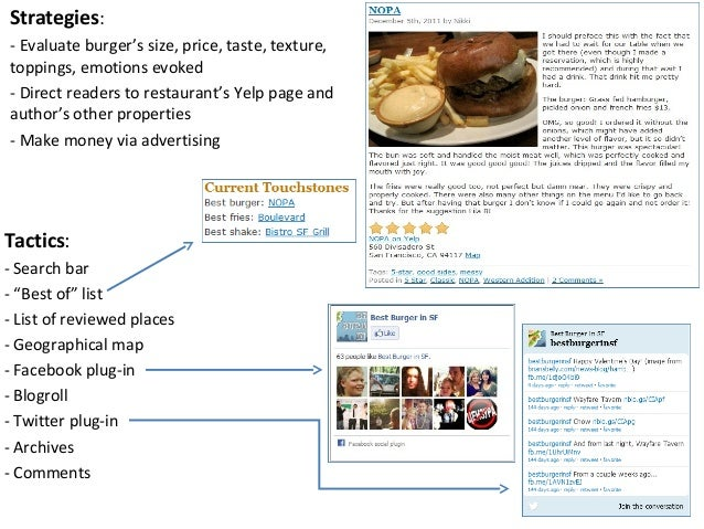 Strategies:- Evaluate burger's size, price, taste, texture,toppings, emotions evoked- Direct readers to restaurant's Yelp ...