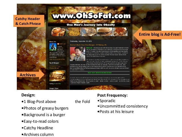 Design:•1 Blog-Post above the Fold•Photos of greasy burgers•Background is a burger•Easy-to-read colors•Catchy Headline•Arc...
