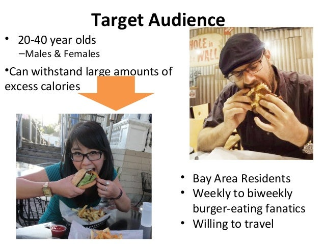 Target Audience• 20-40 year olds–Males & Females•Can withstand large amounts ofexcess calories• Bay Area Residents• Weekly...