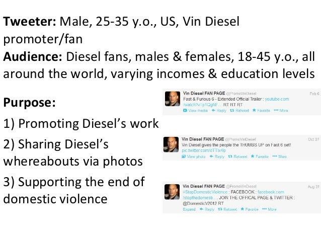 Tweeter: Male, 25-35 y.o., US, Vin Dieselpromoter/fanAudience: Diesel fans, males & females, 18-45 y.o., allaround the wor...
