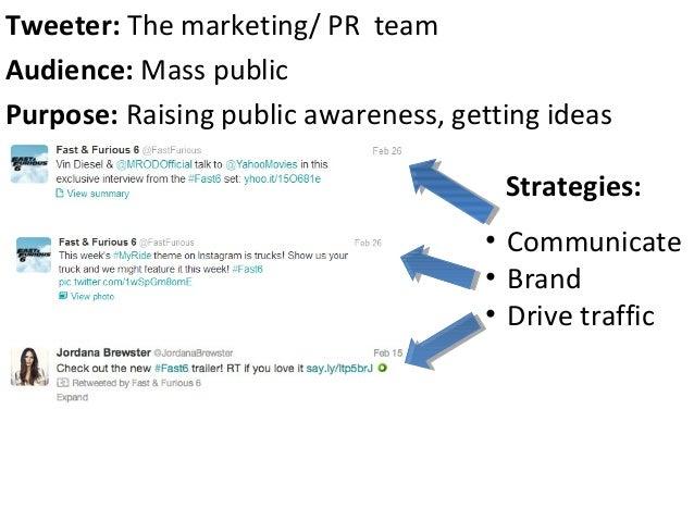 Strategies:• Communicate• Brand• Drive trafficTweeter: The marketing/ PR teamAudience: Mass publicPurpose: Raising public ...
