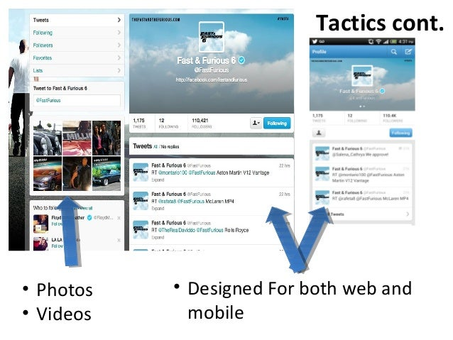 Tactics cont.• Photos• Videos• Designed For both web andmobile