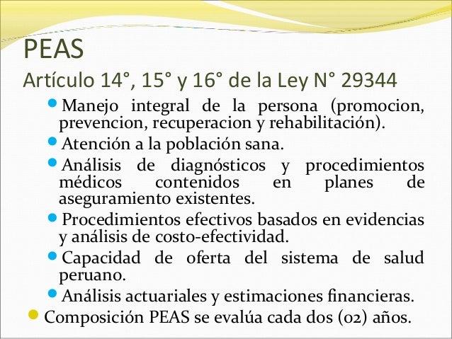 PEAS Artículo 14°, 15° y 16° de la Ley N° 29344 Manejo integral de la persona (promocion, prevencion, recuperacion y reha...