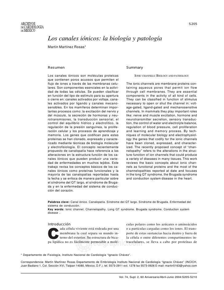 S205                    Los canales iónicos: la biología y patología                    Martín Martínez Rosas*            ...