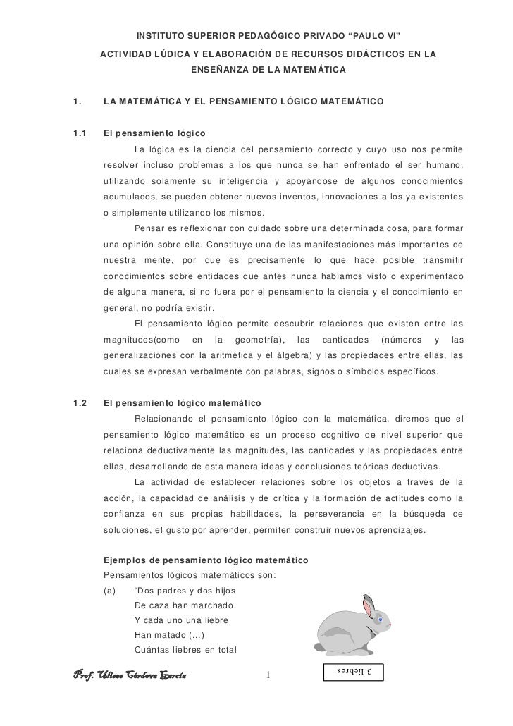 """INSTITUTO SUPERIOR PEDAGÓGICO PRIVADO """"PAULO VI""""      ACTIVIDAD LÚDICA Y ELABORACIÓN DE RECURSOS DIDÁCTICOS EN LA         ..."""
