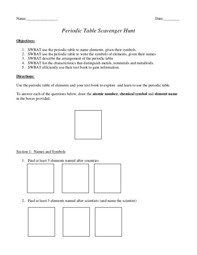 Printables Periodic Table Scavenger Hunt Worksheet periodic table scavenger hunt worksheet answers davezan