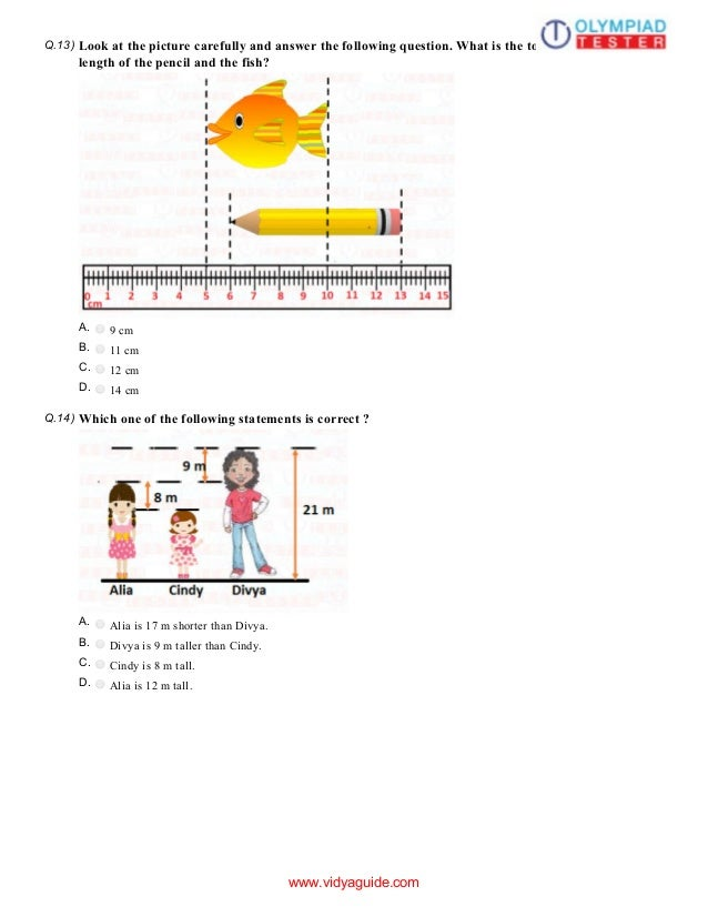 Class 1 Maths Olympiad Sample paper - Measurements 11