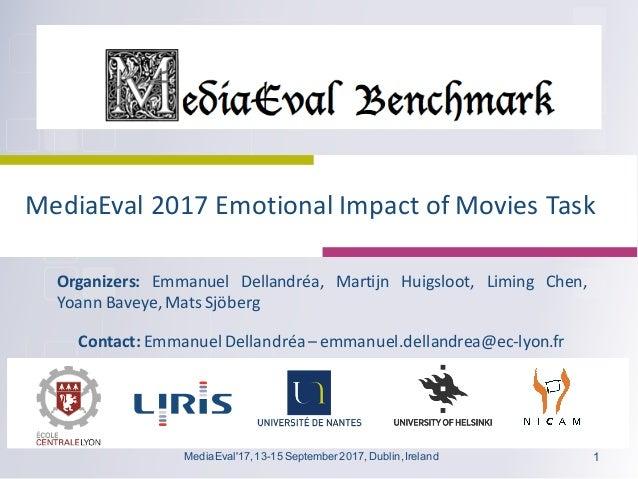 MediaEval 2017Emotional ImpactofMovies Task Organizers: Emmanuel Dellandréa, Martijn Huigsloot, Liming Chen, Yoann Bave...