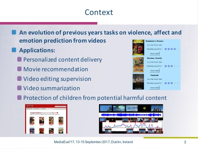 The MediaEval 2017 Emotional Impact of Movies Task (Overview) Slide 3