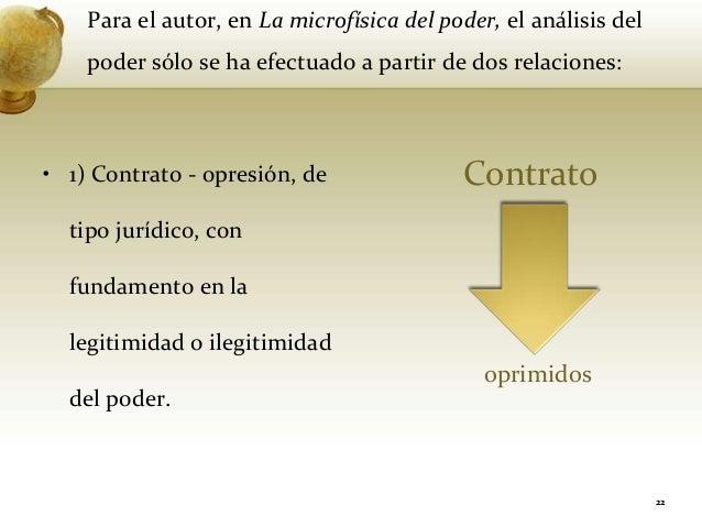 Para el autor, en La microfísica del poder, el análisis delpoder sólo se ha efectuado a partir de dos relaciones:• 1) Cont...