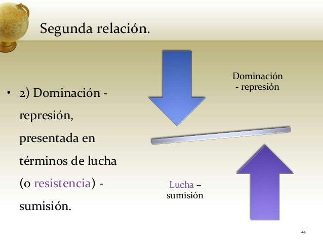 Segunda relación.• 2) Dominación -represión,presentada entérminos de lucha(o resistencia) -sumisión.24Dominación- represió...