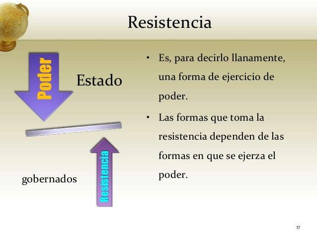 ResistenciaEstadogobernados37• Es, para decirlo llanamente,una forma de ejercicio depoder.• Las formas que toma laresisten...