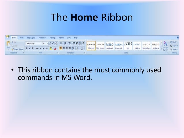 Word restore ribbon