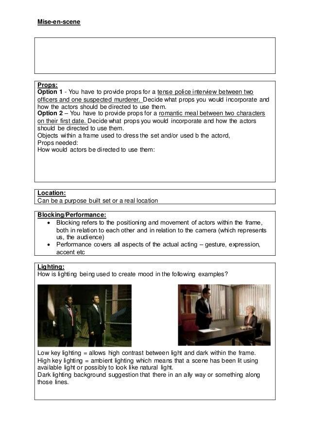 01  mise en scene notes sheet Slide 2