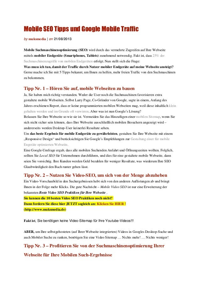 Mobile SEO Tipps und Google Mobile Traffic by muksmedia | on 21/08/2013 Mobile Suchmaschinenoptimierung (SEO) wird durch d...